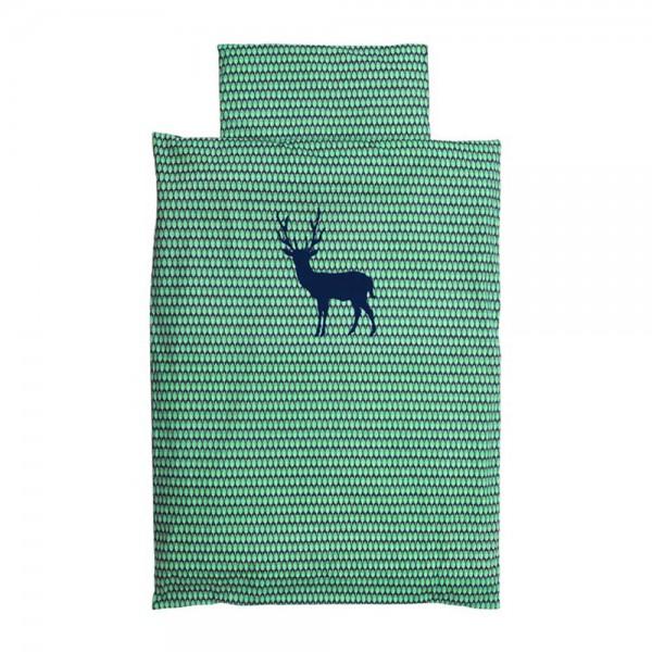Taftan Kinderbettwäsche grün Hirsch blau 100 x 135
