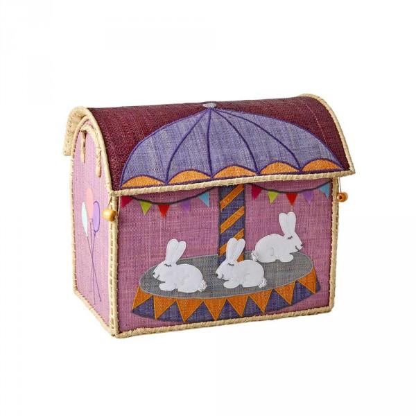 Rice Spielzeugkorb Karussell klein rosa flieder