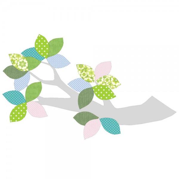 Inke Tapetenast silber Blätter grün blau rosa