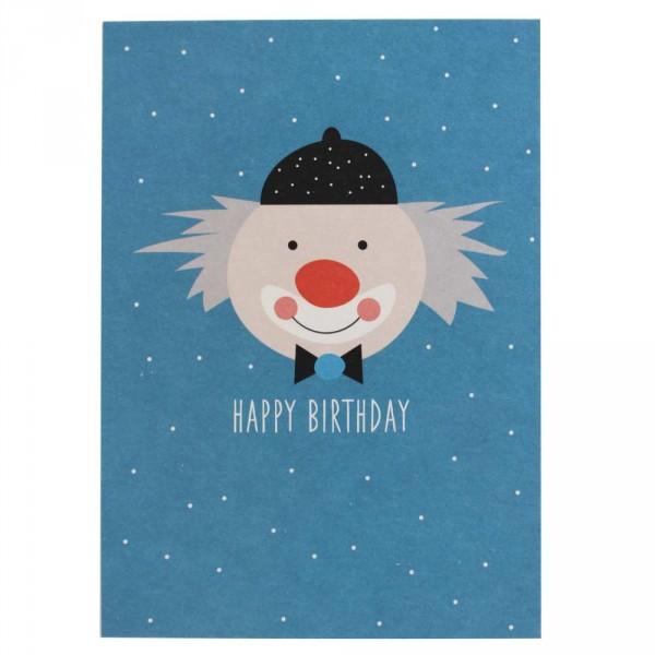 Ava & Yves Postkarte Geburtstag Clown