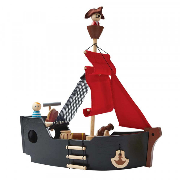 Plan Toys Spielzeug Piratenschiff Holz schwarz