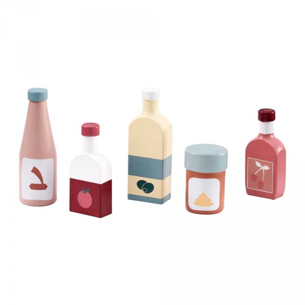Kids Concept 5er Set Öl & Sossenflaschen für Kinderküchen