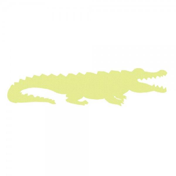 Inke Tapetentier Krokodil grün Punkte weiss