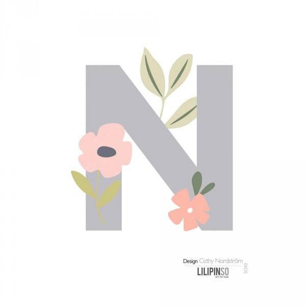 Lilipinso Sticker Buchstabe mit Blüten grau rosa pastell N