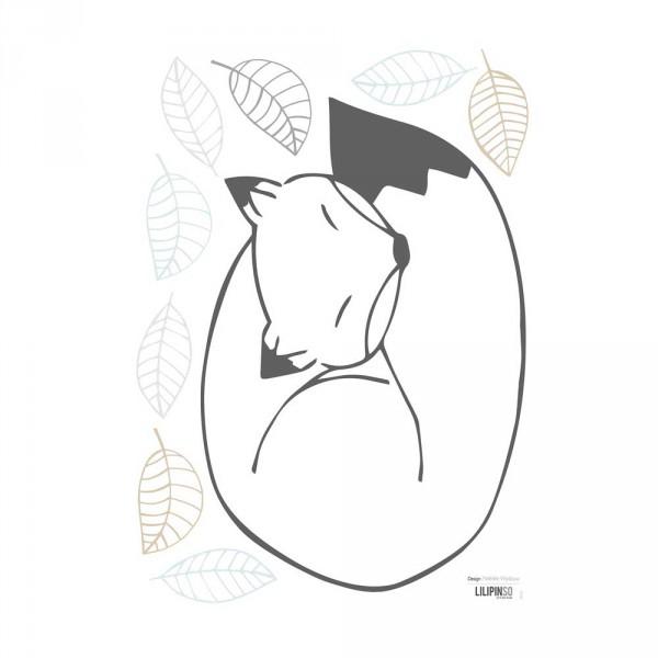 Lilipinso Wandsticker A3 Fuchs und Blätter schwarz grau beige