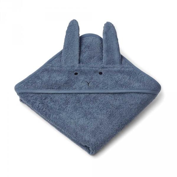 """Liewood """"Albert"""" Baby Kapuzen Handtuch Hase blau"""