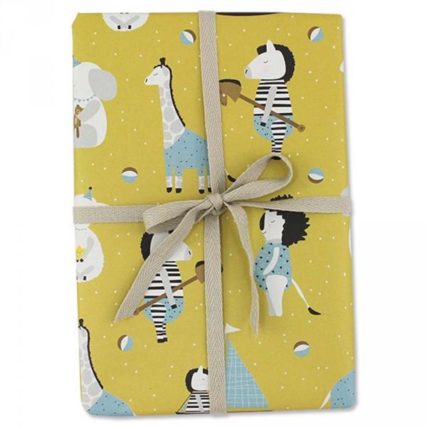 Ava & Yves Geschenkpapier Tiere gelb