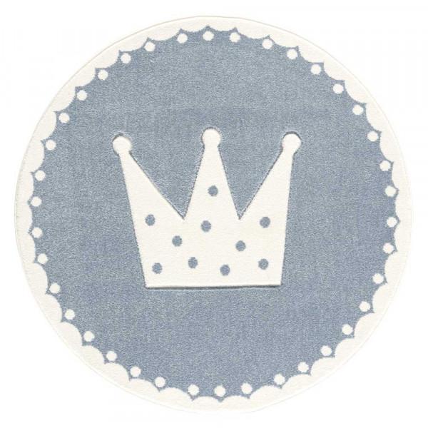 Livone Kinderteppich rund Krone blau weiss