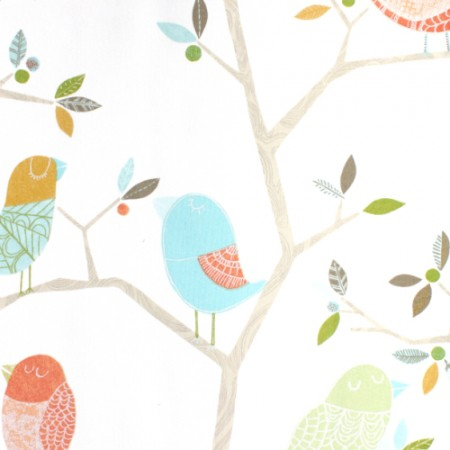 Harlequin Stoff Vögel aqua