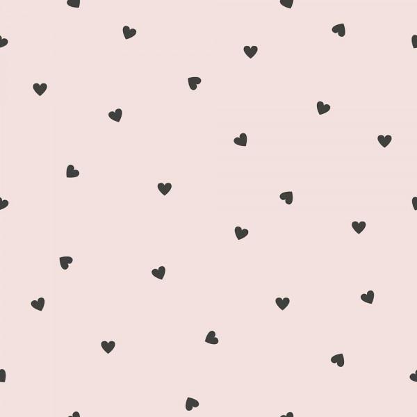 Lilipinso Vlies Tapete Herzchen schwarz auf rosa