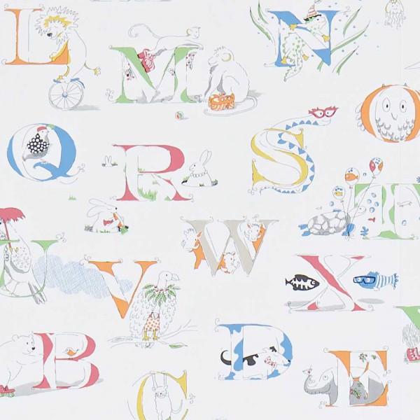 Little Sanderson Abracazoo Motivstoff Alphabet bestickt creme Rainbow