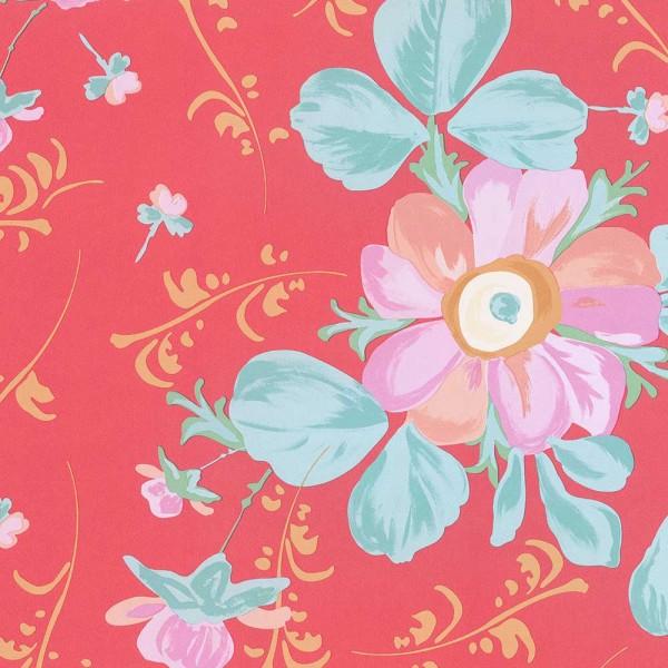Rice Tapete große Blumen rot