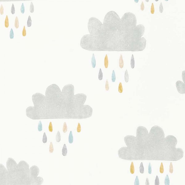 Scion Guess Who Tapete Wolken & Regentropfen grau lime blau