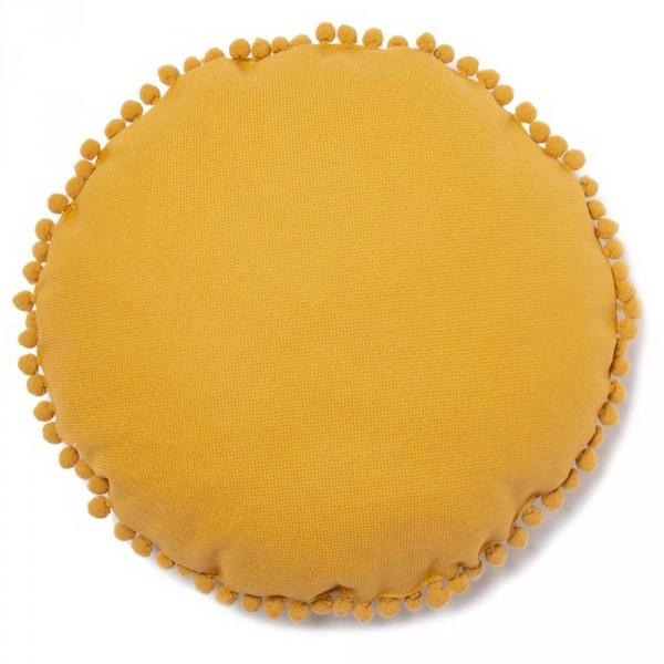 """Nobodinoz Kissen """"Sonne"""" mit Pom Poms Farniente gelb"""