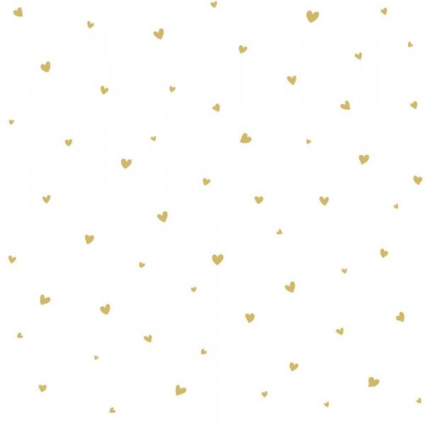 Lilipinso Vlies Tapete Herzchengestöber gold