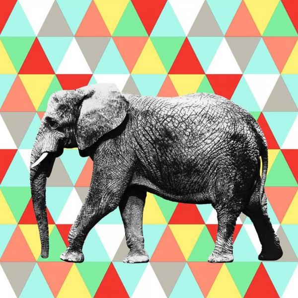 Rasch Textil Everybody Bonjour Wandbild Elefant Dreiecke