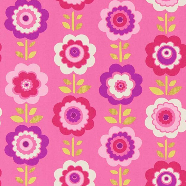 Harlequin all about me Stoff Blumen pink