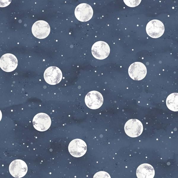 Eijffinger Mini Me Tapete fluoreszierend Mond nachtblau