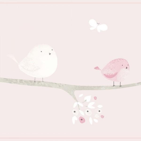 Casadeco My Little World Bordüre Vögelchen rosa pink taupe