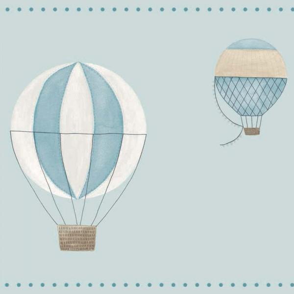 Casadeco My Little World Bordüre Heissluftballons blau braun
