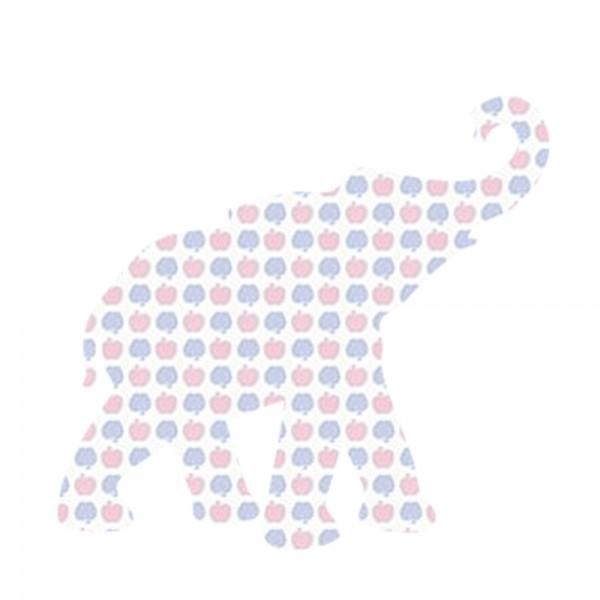 Inke Tapetentier Babyelefant Apfelmuster blau rosa
