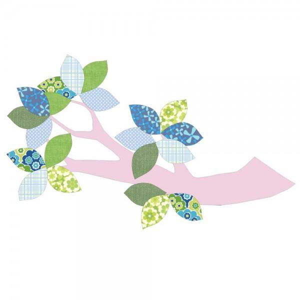 Inke Tapetenast rosa Blätter grün blau
