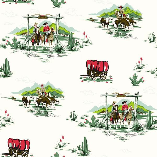 Rasch Textil Everybody Bonjour Tapete Cowboys mint rot