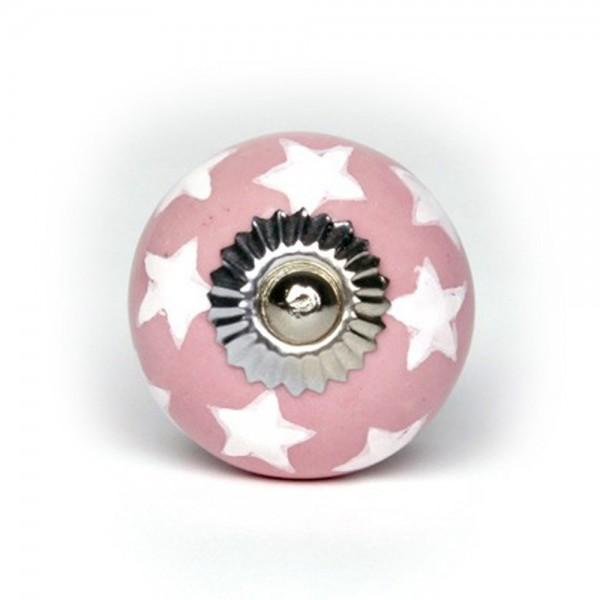 Knaufmanufaktur Möbelknauf Keramik rosa Sterne