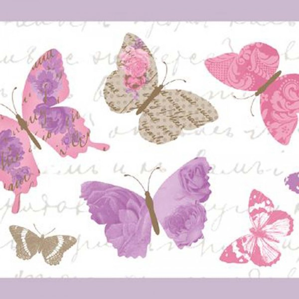 Caselio Pretty Lili Bordüre Schmetterlinge lila grau