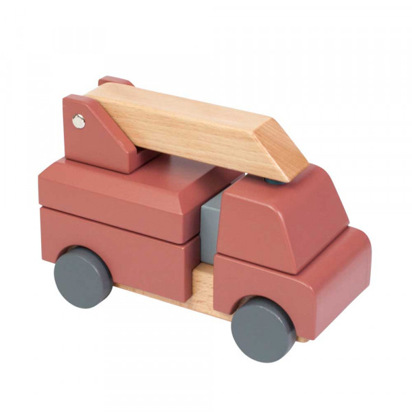 Sebra Holz Spielzeugauto Stapelspielzeug Feuerwehr rot