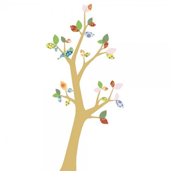 Inke Tapetenbaum 3 Stamm gold Blätter grün rosa rot