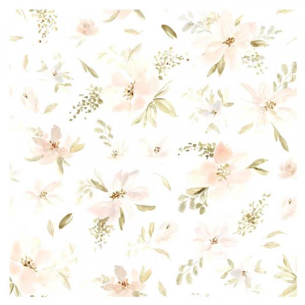 Lilipinso Vlies Tapete große Blüten apricot grün
