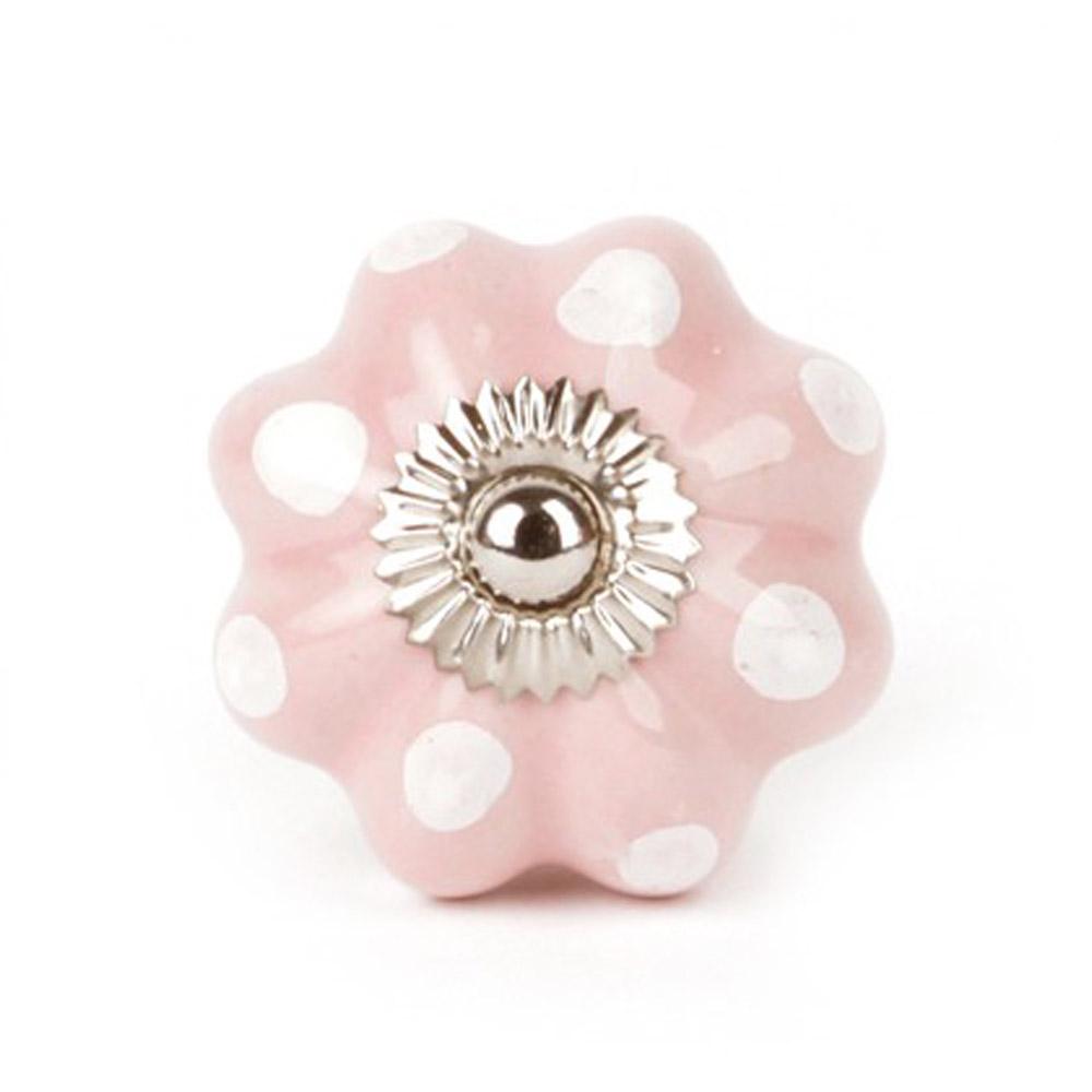 Knaufmanufaktur Möbelknauf Blume Keramik pink Punkte weiß bei kinder ...