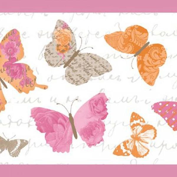 Caselio Pretty Lili Bordüre Schmetterlinge orange taupe pink