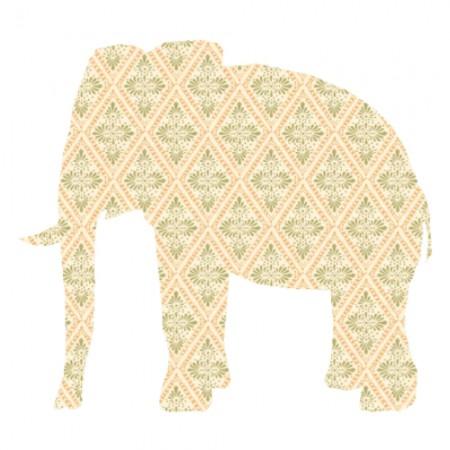 Inke Tapetenelefant Raute beige