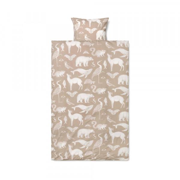 Ferm Living Kinderbettwäsche Katie Scott Tiere beige 100 x 140