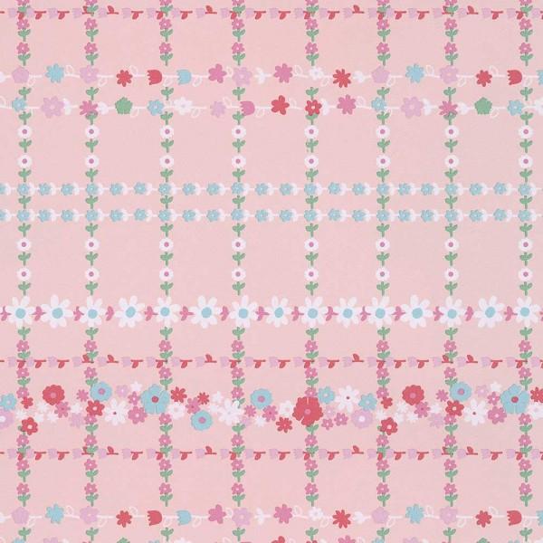 Rice Tapete Blütenkaro rosa