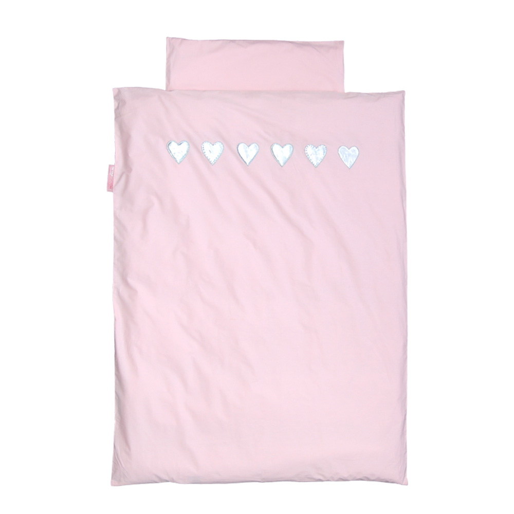 taftan bettw sche 135 x 200 rosa herzen silber bei kinder r ume. Black Bedroom Furniture Sets. Home Design Ideas