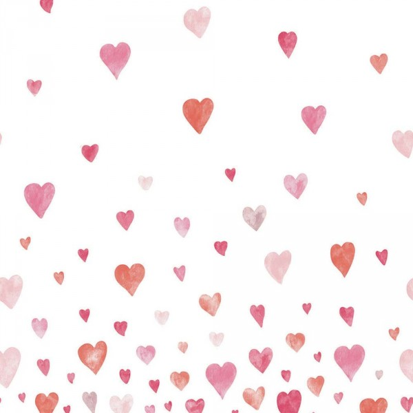 Casadeco Alice & Paul Panoramatapete Herzen pink rosa orange