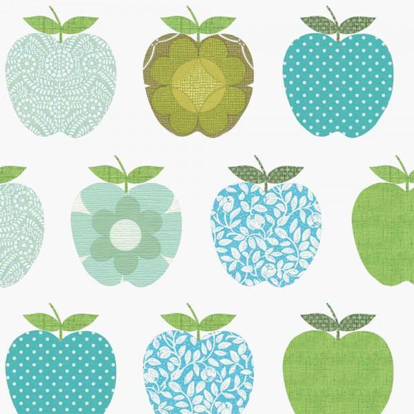 Inke Tapeten Wandbild Retro Äpfel blau