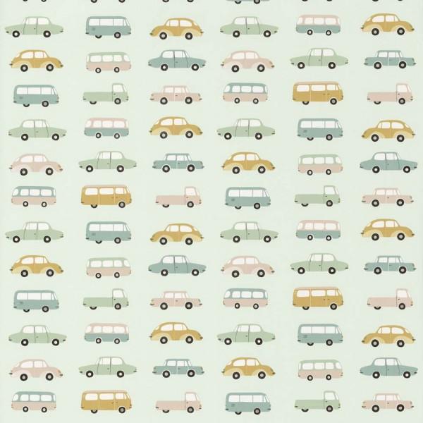 Casadeco Kindertapete Happy Dreams Autos mint gelb