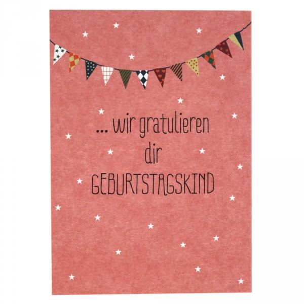 Ava & Yves Postkarte Geburtstag Wir gratulieren