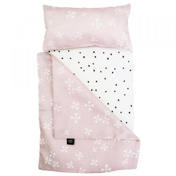 ooh noo Puppenbettwäsche weisse Blüten auf rosa