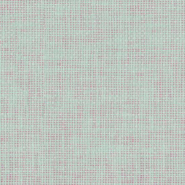 Rice Tapete pink metallic mit Raffiabast in grün