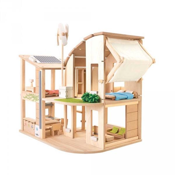 Plan Toys Puppenhaus Go Green Holz natur inkl. Möblierung