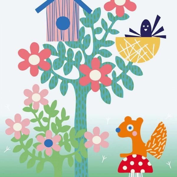 Eijffinger Tout Petit Tapeten Wandbild Waldtiere rot petrol rosa