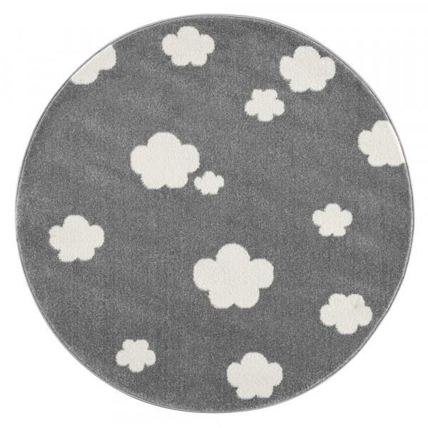 Livone Teppich rund Wolken grau