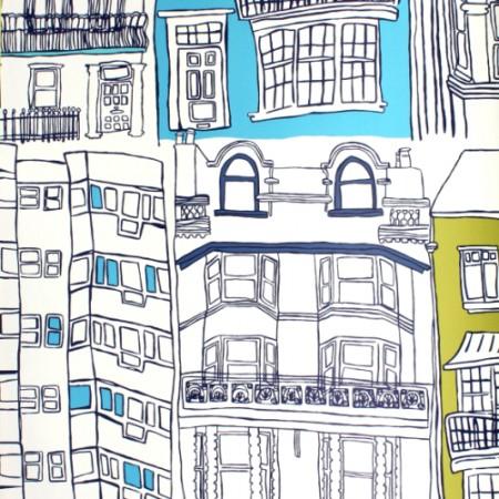 Harlequin Tapete Häuser blau