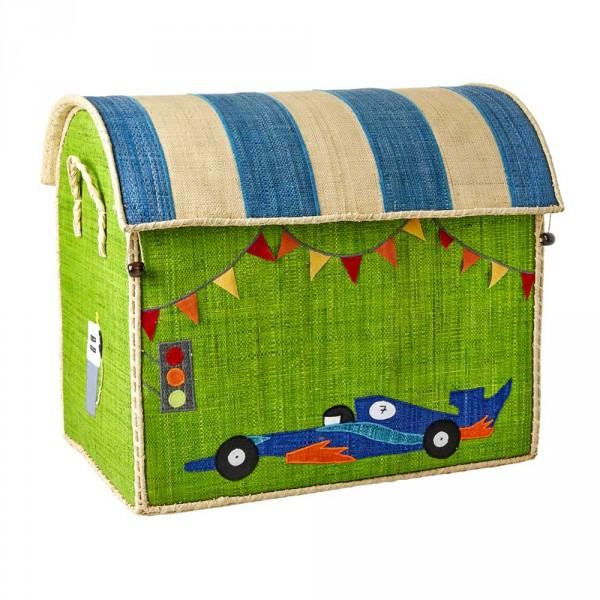 Rice Spielzeugkorb Fahrzeuge gross grün