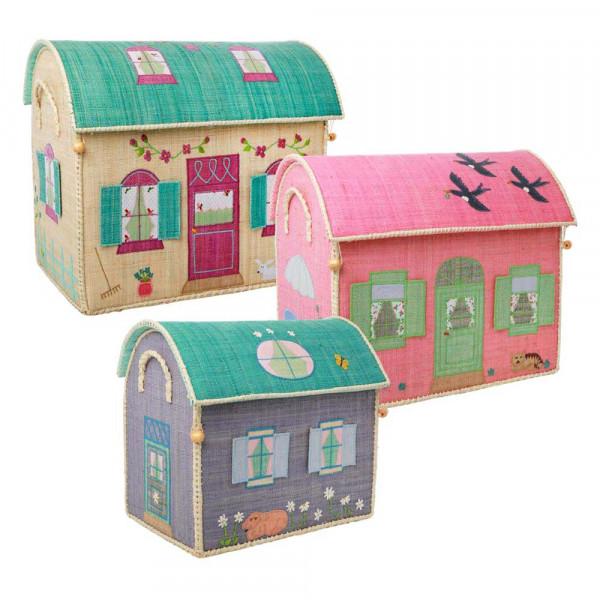 Rice Spielzeugkorb-Set Häuser pastell
